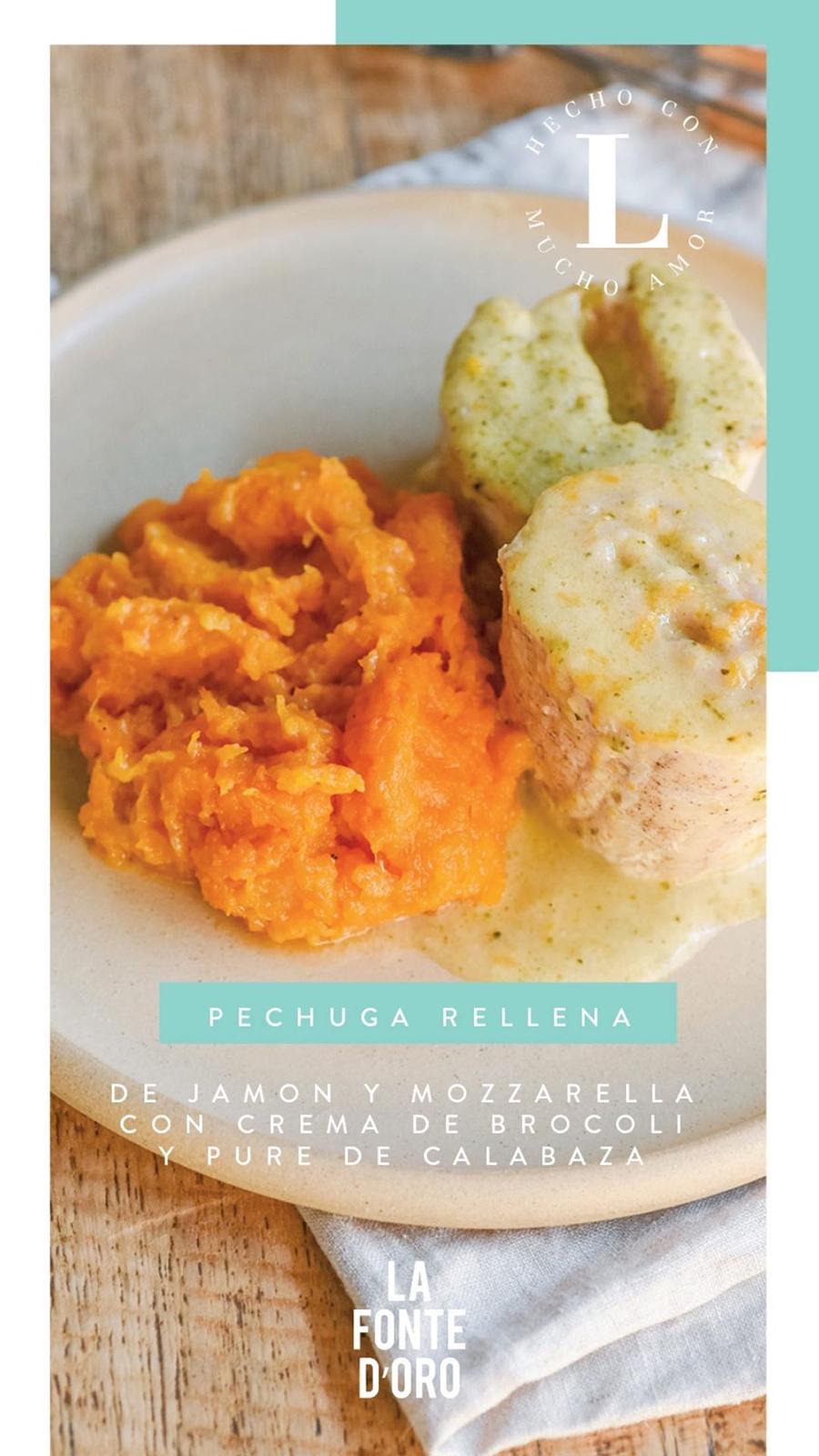 Pechuga rellena de jamón y mozarella,   cubierta de crema de brócoli y puré de   calabazas asadas al horno.
