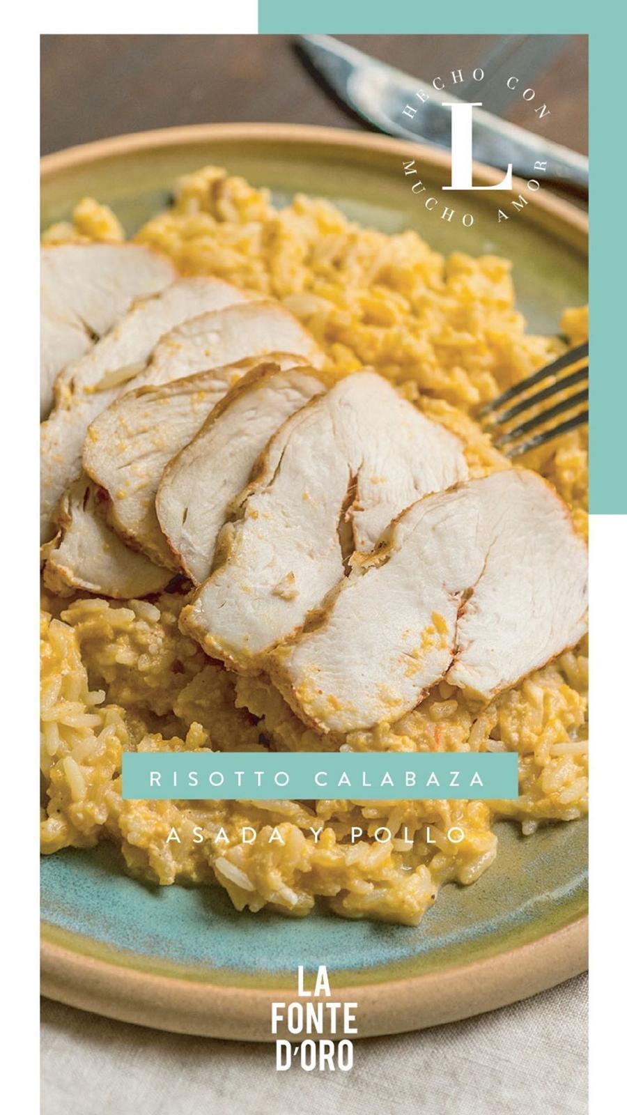 Risotto calabaza asada y pollo